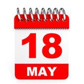 Calendar on white background. 18 May. — Stock Photo