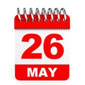 Calendar on white background. 26 May. — Stock Photo