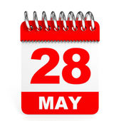 Calendar on white background. 28 May. — Stock Photo