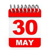 Calendar on white background. 30 May. — Stock Photo