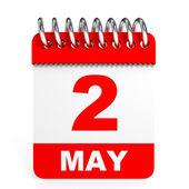 Calendar on white background. 2 May. — Stock Photo
