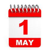 Calendar on white background. 1 May. — Stock Photo