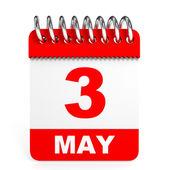 Calendar on white background. 3 May. — Stock Photo