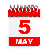Calendar on white background. 5 May. — Stock Photo
