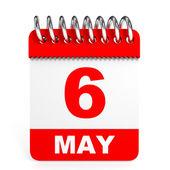 Calendar on white background. 6 May. — Stock Photo