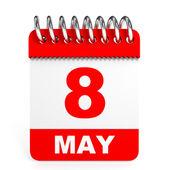 Calendar on white background. 8 May. — Stock Photo