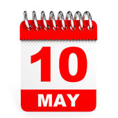 Calendar on white background. 10 May. — Stock Photo