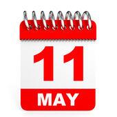 Calendar on white background. 11 May. — Stock Photo
