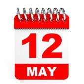 Calendar on white background. 12 May. — Stock Photo