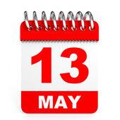 Calendar on white background. 13 May. — Stock Photo