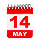 Calendar on white background. 14 May. — Stock Photo