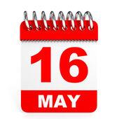 Calendar on white background. 16 May. — Stock Photo