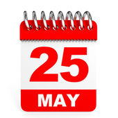 Calendar on white background. 25 May. — Stock Photo