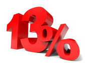 Red thirteen percent off. Discount 13 percent. — Stock Photo