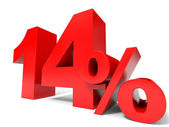 Red fourteen percent off. Discount 14 percent. — Stock Photo
