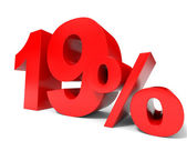Red nineteen percent off. Discount 19 percent. — Stock Photo