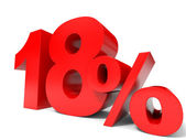 Red eighteen percent off. Discount 18 percent. — Stock Photo