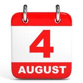 Calendar. 4 August. — Zdjęcie stockowe