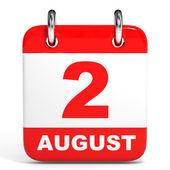 Calendar. 2 August. — Zdjęcie stockowe