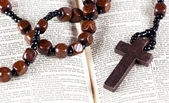 Rosary beads, cross and Bible — Stock Photo