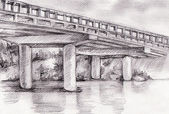 Hand drawn bridge — Stock Photo