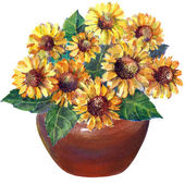 Bouquet of yellow daisies in a ceramic jug — Foto de Stock