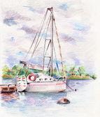 在水面上的游艇 — 图库照片