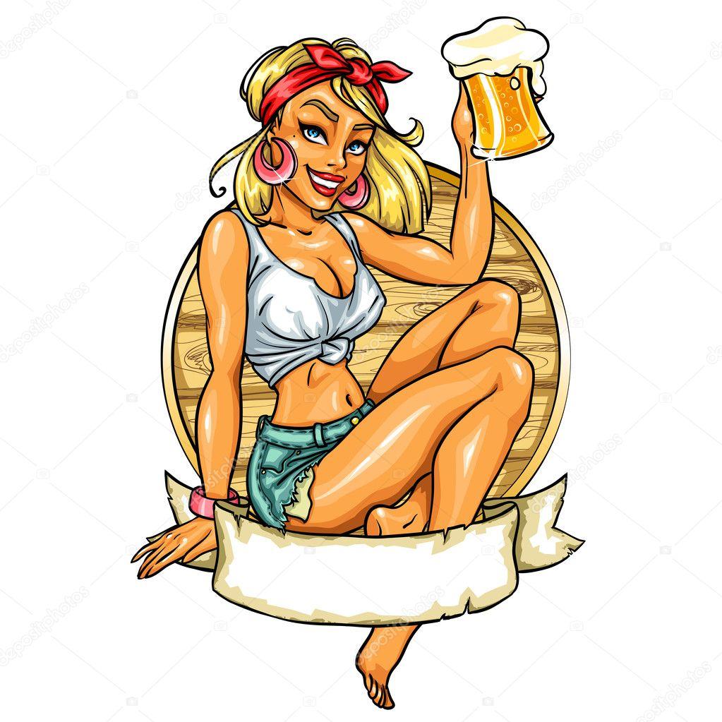 Beer Wench Drawing up Girl Holding Beer Mug
