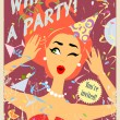Party invitation design with red hair girl — Stock Vector #43295831