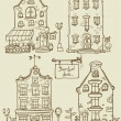 Hand drawn old houses — Stock Vector