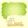 Tea pot and cups background, green tea — Stock Vector #43296591