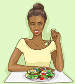 African American woman eating salad — 图库矢量图片