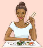 African American woman eating sushi rolls — 图库矢量图片