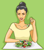 Asian woman eating salad — 图库矢量图片