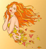 Woman with autumn leaves — Stock Vector