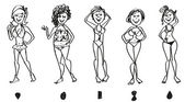 Female body shapes set — Stock Vector