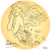 Mujer con hojas de otoño — Vector de stock