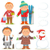 Winter holidays set, Red hair guy — Stock Vector