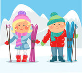 Couple with skis — Stock Vector