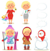 Winter holidays set, Pretty blond girl — Stock Vector