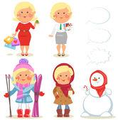 Winter holidays set, Pretty blond girl — Stock Vector