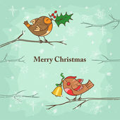 Christmas card with birds — Cтоковый вектор