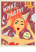 Party invitation design with red hair girl — Cтоковый вектор