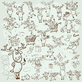 Christmas Reindeer set — Stock Vector