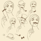 Girl with fake mustache — Stock Vector