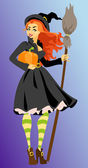 Witch with pumpkin and broomstick — Stock Vector
