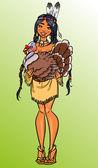 Thanksgiving dinner invitation, American Indian girl holding turkey — Vecteur