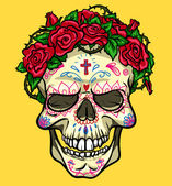 Skull with roses, Day of the Dead — Stock Vector