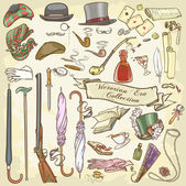 Victorian Era Collection, Lady's and Gentleman's vintage accessories — Stock Vector
