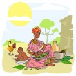 African woman with baby — Stock Vector